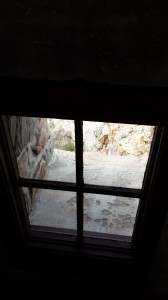 The window on the lower stairway that Lynn Collund and I installed.