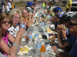 Riders eating at Minnekata Trailhead