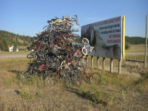 Bicycles stockpiled in Pringle, SD along the trail
